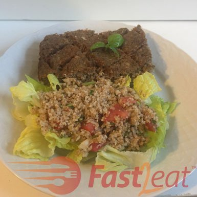 "Serve the tabule over fresh lettuce leaves with <a href=""http://fast2eat.com/recipe/kibe/"">Baked Kibbeh Fast2eat Recipe</a> or a side of pita and romaine lettuce leaves, which act as wraps or ""boats"" for the tabule."