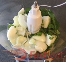 "Add the onion, mint and basil to a <a target=""_blank"" href=""https://www.amazon.ca/gp/product/B008J8MJIQ/ref=as_li_tl?ie=UTF8&camp=15121&creative=330641&creativeASIN=B008J8MJIQ&linkCode=as2&tag=fast2eat06-20&linkId=0d9f89c20265072be37e4c238a64bc10"">Food Processor</a><img src=""//ir-ca.amazon-adsystem.com/e/ir?t=fast2eat06-20&l=am2&o=15&a=B008J8MJIQ"" width=""1"" height=""1"" border=""0"" alt="""" style=""border:none !important; margin:0px !important;"" /> and pulse until grated. Then add ground beef."