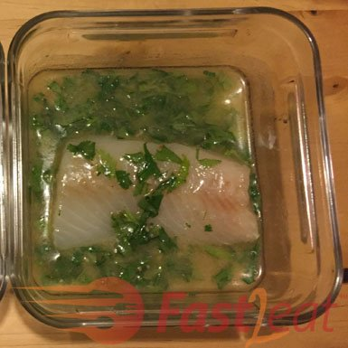 In a small container mix lemon juice, Margarine (or melted Butter), Garlic, Hondashi, Parsley and Coriander.