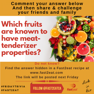 Answer: kiwifruit, pineapple and papaya Many fruits such as kiwifruit, pineapple and papaya are known to contain enzymes that have a tenderizing effect on the meat.